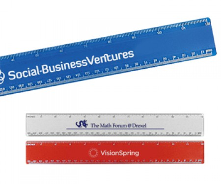 PLASTIC BEVELED RULER 12""
