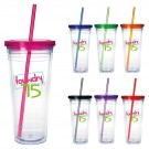 CLEAR DOUBLE WALL TUMBLER 24 oz. 24 HR